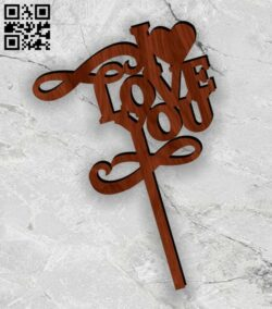 I love you topper E0013095 file cdr and dxf free vector download for laser cut plasma