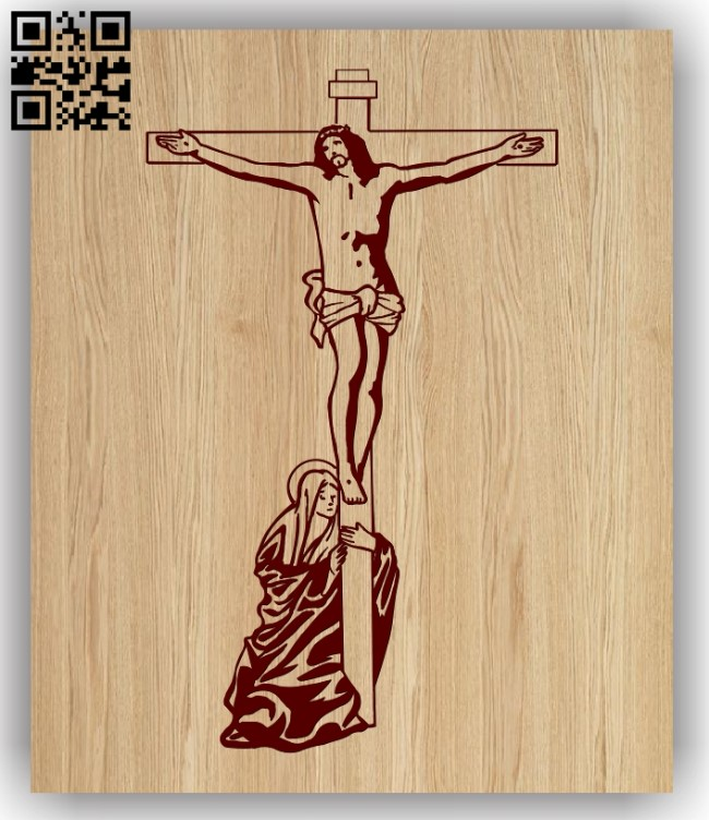 Jesus with cross E0013191 file cdr and dxf free vector download for laser engraving machines