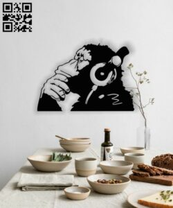 Monkey with headphone E0013145 file cdr and dxf free vector download for laser cut plasma