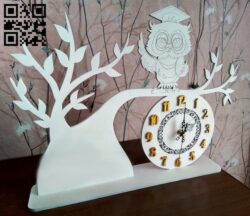 Owl on the tree clock  E0013199 file cdr and dxf free vector download for laser cut