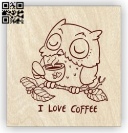 Owl with coffee E0013078 file cdr and dxf free vector download for laser engraving machines