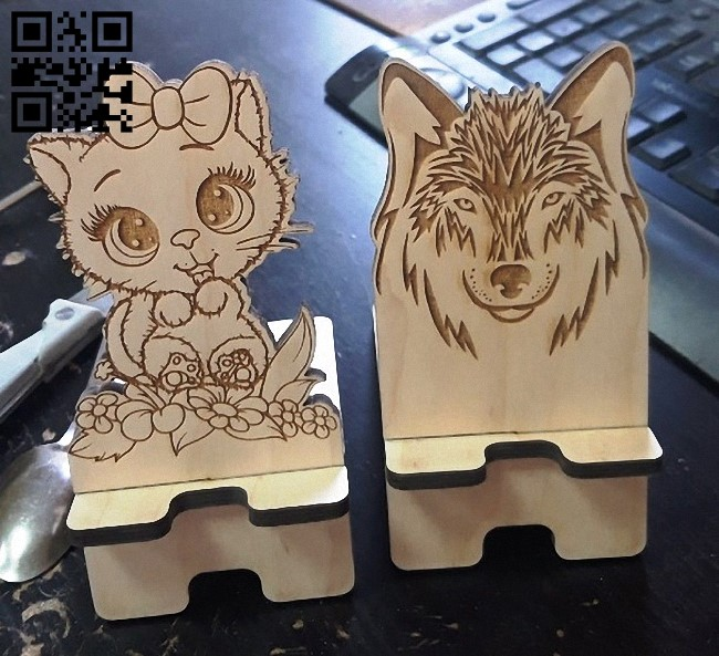 Phone stand E0013039 file cdr and dxf free vector download for laser cut