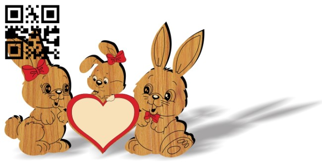 Rabbit family photo frame E0013174 file cdr and dxf free vector download for laser cut