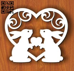 Rabbits with heart E0013117 file cdr and dxf free vector download for laser cut