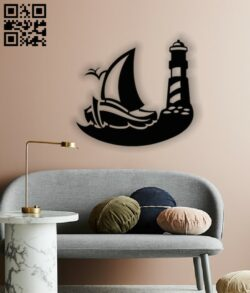 Sailboat with lighthouse E0013099 file cdr and dxf free vector download for laser cut plasma
