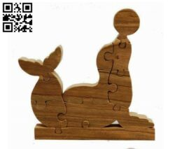 Sea lion puzzle E0013123 file cdr and dxf free vector download for cnc cut