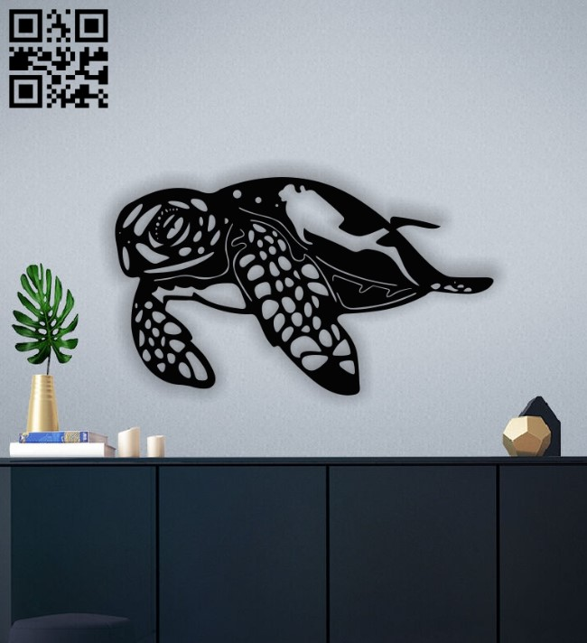 Sea turtle with diver E0012993 file cdr and dxf free vector download for laser cut plasma