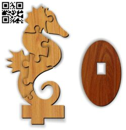Seahorse puzzle E0013122 file cdr and dxf free vector download for cnc cut