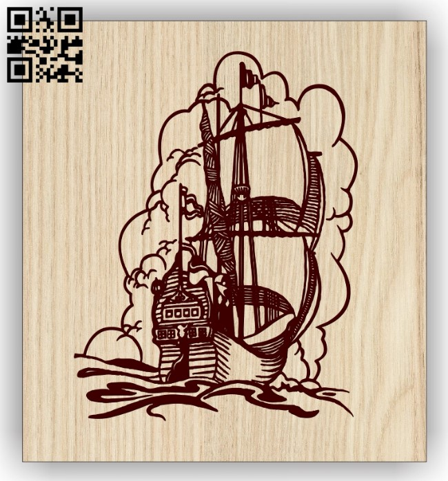 Ship E0013101 file cdr and dxf free vector download for laser engraving machines