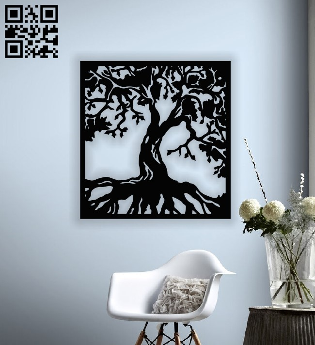 Tree wall decor E0013044 file cdr and dxf free vector download for laser cut plasma