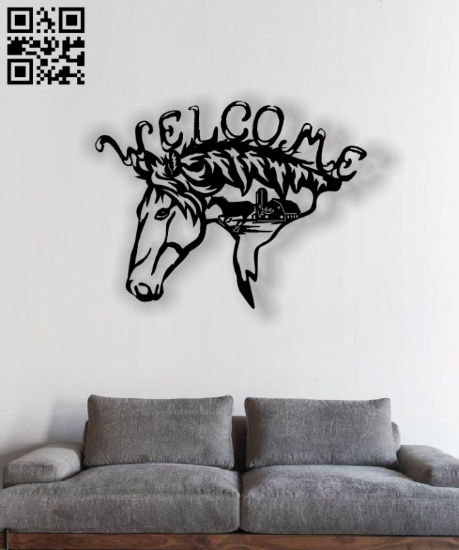 Welcome Horse E0013041 file cdr and dxf free vector download for laser cut plasma