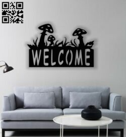 Welcome wall decor E0013018 file cdr and dxf free vector download for laser cut plasma
