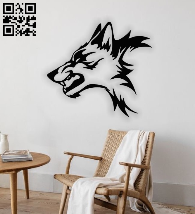 Wolf wall decor E0013130 file cdr and dxf free vector download for cnc cut plasma