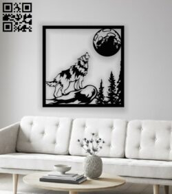 Wolf with moon panel E0012973 file cdr and dxf free vector download for laser cut plasma