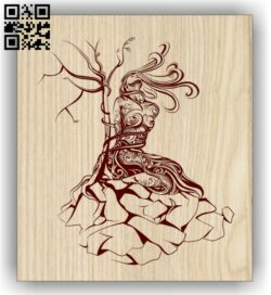 Woman with tree E0013079 file cdr and dxf free vector download for laser engraving machines