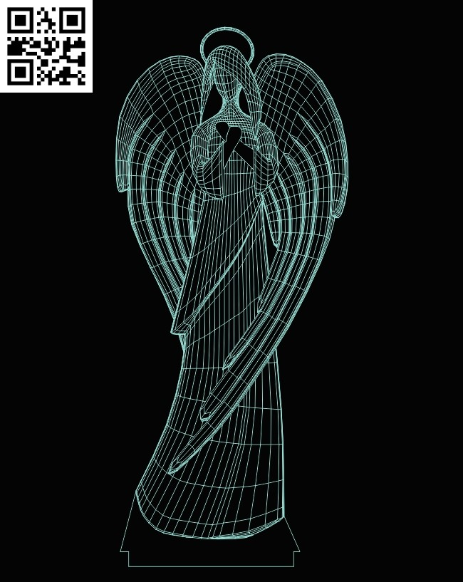 3D illusion led lamp Angel E0013492 file cdr and dxf free vector download for laser engraving machine