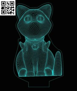 3D illusion led lamp Cat E0013362 file cdr and dxf free vector download for laser engraving machines