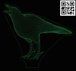 3D illusion led lamp Crow E0013396 file cdr and dxf free vector download for laser engraving machines