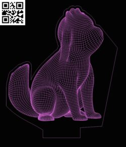 3D illusion led lamp Dog E0013360 file cdr and dxf free vector download for laser engraving machines