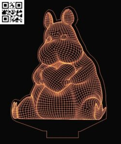 3D illusion led lamp Mouse E0013363 file cdr and dxf free vector download for laser engraving machines