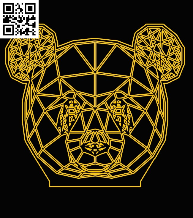 3D illusion led lamp Panda E0013496 file cdr and dxf free vector download for laser engraving machine