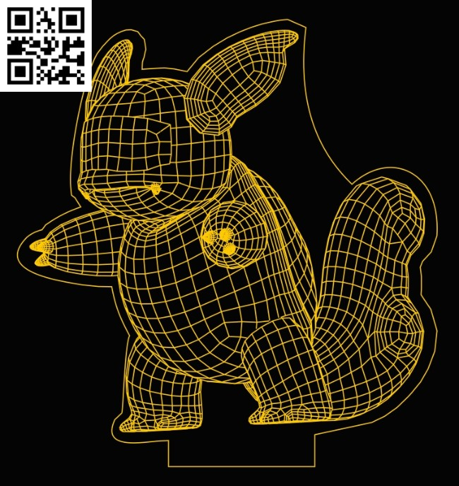 3D illusion led lamp Pokemon E0013286 file cdr and dxf free vector download for laser engraving machines