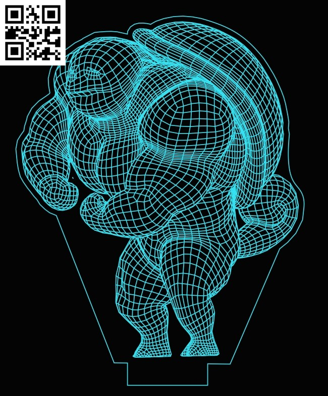 3D illusion led lamp Pokemon E0013287 file cdr and dxf free vector download for laser engraving machines
