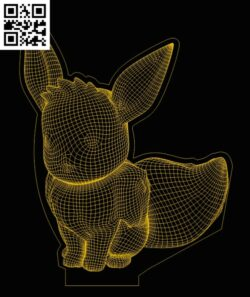 3D illusion led lamp Pokemon E0013397 file cdr and dxf free vector download for laser engraving machines