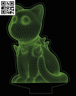 3D illusion led lamp Pokemon E0013398 file cdr and dxf free vector download for laser engraving machines