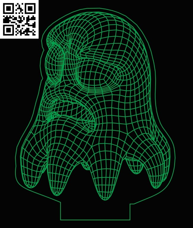 3D illusion led lamp Tooth E0013288 file cdr and dxf free vector download for laser engraving machines
