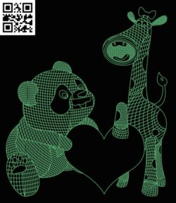 3D illusion led lamp bear with giraffe E0013443 file cdr and dxf free vector download for laser engraving machine