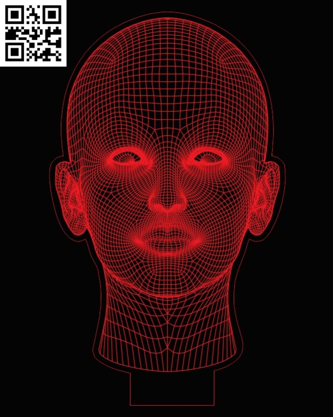3D illusion led lamp head E0013253 file cdr and dxf free vector download for laser engraving machines