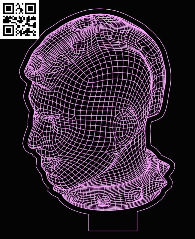 3D illusion led lamp head E0013284 file cdr and dxf free vector download for laser engraving machines