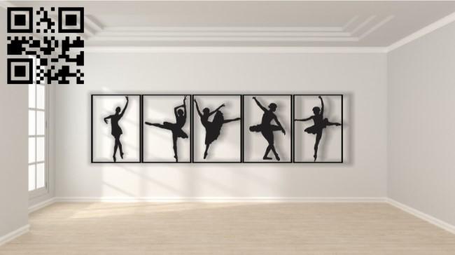 Ballerina dancer E0013444 file cdr and dxf free vector download for laser cut plasma