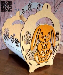 Basket with a rabbit E0013431 file cdr and dxf free vector download for laser cut
