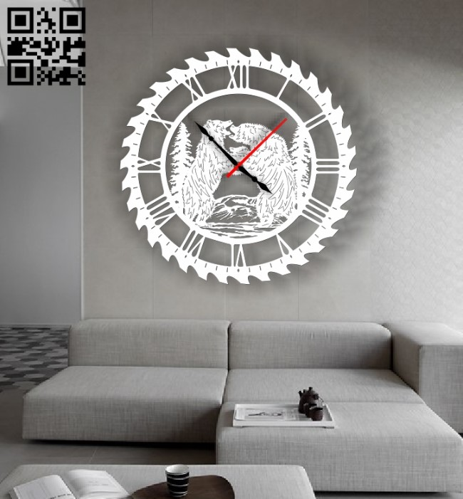 Bears wall clock E0013380 file cdr and dxf free vector download for laser cut