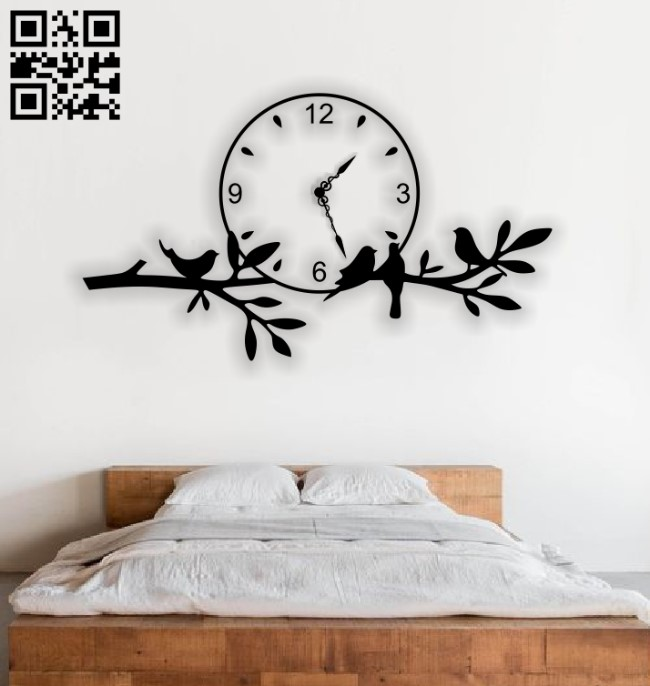 Birds clock E0013368 file cdr and dxf free vector download for laser cut