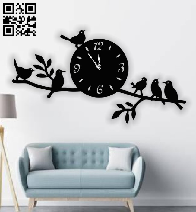 Birds clock E0013369 file cdr and dxf free vector download for laser cut