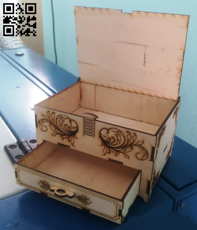 Box with drawer E0013373 file cdr and dxf free vector download for laser cut