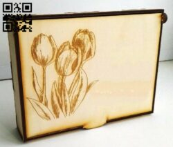 Box with tulip E0013240 file cdr and dxf free vector download for laser cut