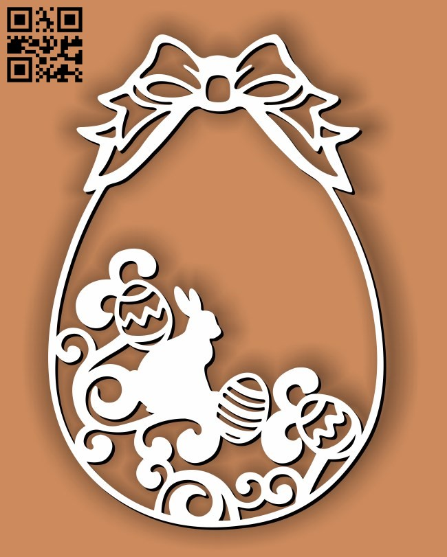 Bunny with easter eggs E0013409 file cdr and dxf free vector download for laser cut plasma