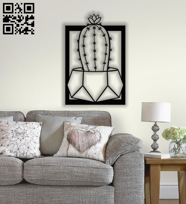 Cactus wall decor E0013392 file cdr and dxf free vector download for laser cut plasma