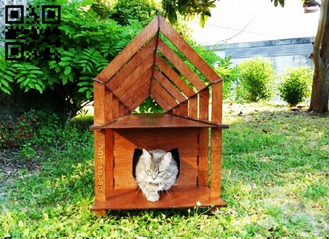 Cat house E0013235 file cdr and dxf free vector download for laser cut