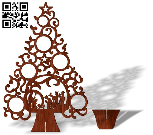 Christmas tree with god E0013439 file cdr and dxf free vector download for laser cut