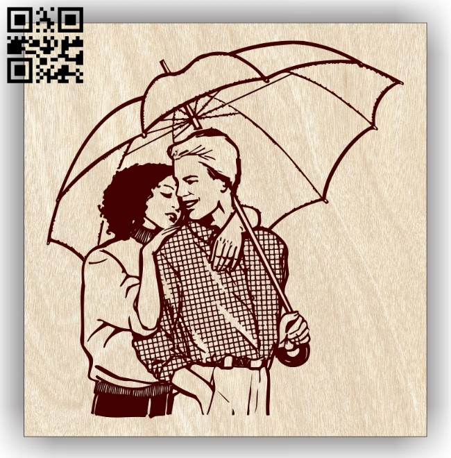 Couple with umbrella E0013245 file cdr and dxf free vector download for laser engraving machines