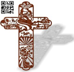 Cross with Adam and Eve E0013471 file cdr and dxf free vector download for laser cut plasma