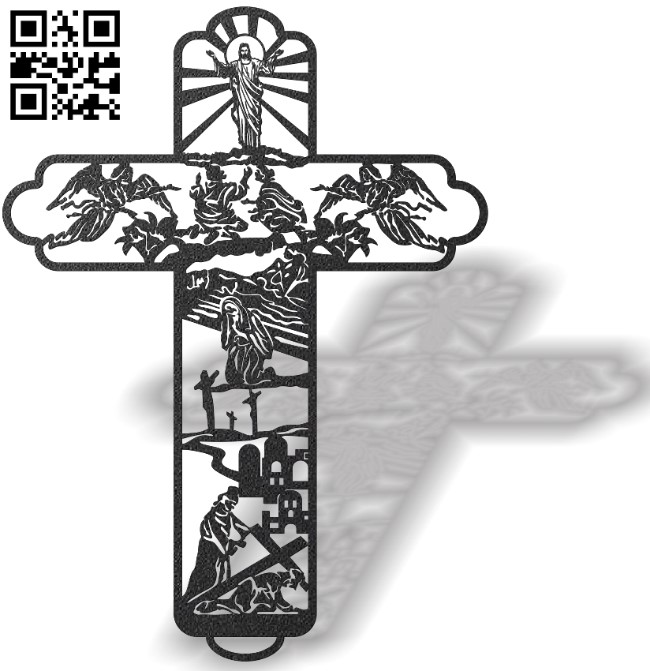 Cross with Easter E0013453 file cdr and dxf free vector download for laser cut plasma