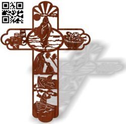 Cross with fish E0013469 file cdr and dxf free vector download for laser cut plasma