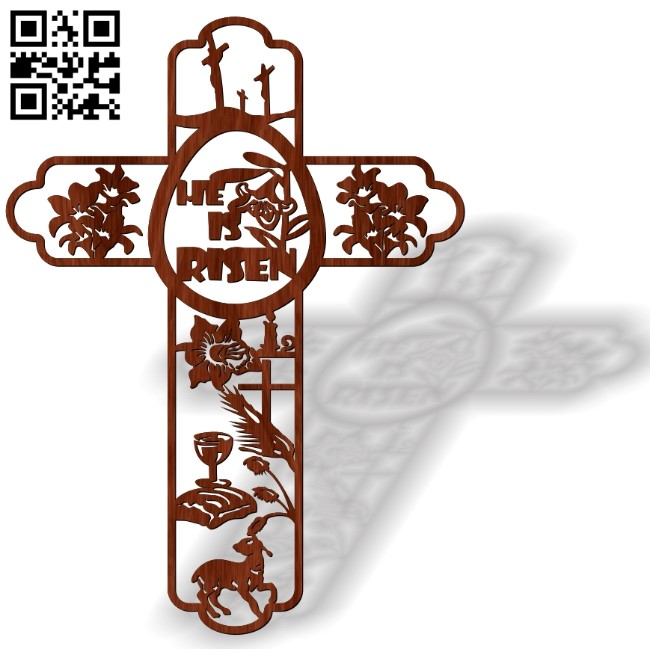 Cross with fish E0013470 file cdr and dxf free vector download for laser cut