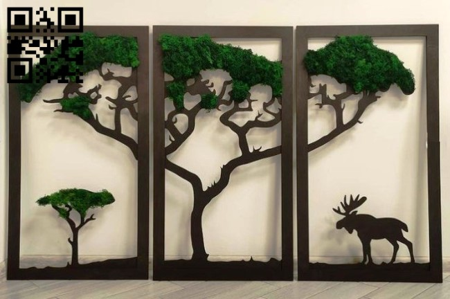 Deer panel E0013259 file cdr and dxf free vector download for laser cut plasma